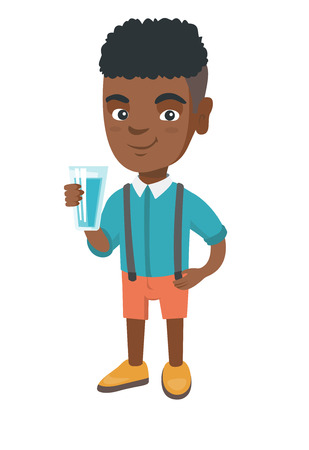 Little african-american boy holding a glass of water in his hand. Smiling boy with water in a glass. Boy drinking water. Vector sketch cartoon illustration isolated on white background. 矢量图像