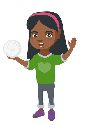 Little african-american girl holding a volleyball ball in hand. Full length of young volleyball player with a volleyball ball. Vector sketch cartoon illustration isolated on white background.