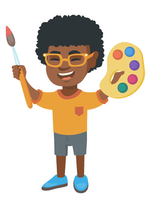 Smiling african-american boy drawing with colorful paints and brush. Creative boy holding paintbrush and palette with watercolors. Vector sketch cartoon illustration isolated on white background.