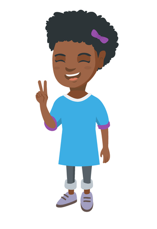 African-american girl showing victory gesture. Little girl showing victory sign with two fingers. Vector sketch cartoon illustration isolated on white background. Illustration