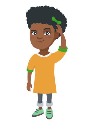 Confused african-american little girl scratching head. Thoughtful girl scratching her head. Puzzled girl scratching her head. Vector sketch cartoon illustration isolated on white background. Banco de Imagens - 86749580