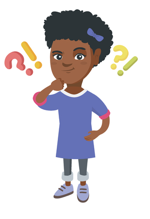 African girl standing under question marks and exclamation points. Pensive girl thinking with question and exclamation marks overhead. Vector sketch cartoon illustration isolated on white background.