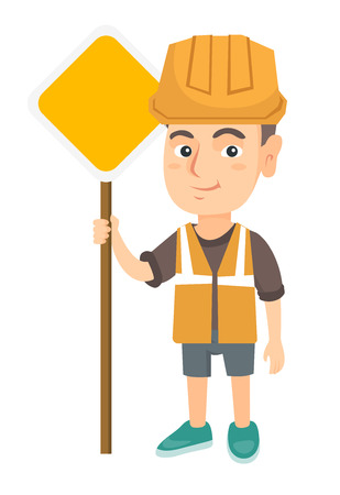 Little caucasian builder boy holding road sign. Smiling boy in a builder reflective vest and hard hat standing near road sign. Vector sketch cartoon illustration isolated on white background. Illustration