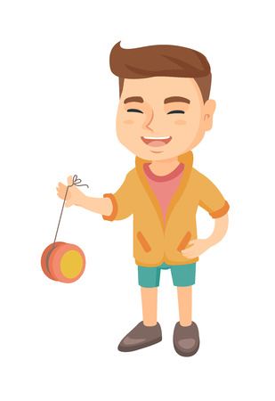 Caucasian boy playing with yo-yo. Full length of little boy with yo-yo toy. Vector sketch cartoon illustration isolated on white background.