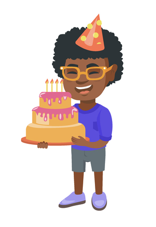 Little happy african child in cap holding a birthday cake with candles. Cheerful laughing boy celebrating his birthday with a cake. Vector sketch cartoon illustration isolated on white background.