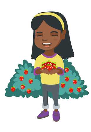 African-american girl holding the berries of fresh strawberries in her hands. Little cheerful girl with handful of strawberries. Vector sketch cartoon illustration isolated on white background. Ilustração