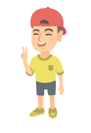 Caucasian boy in a cap showing victory gesture. Little boy showing victory sign with two fingers. Vector sketch cartoon illustration isolated on white background. Illustration