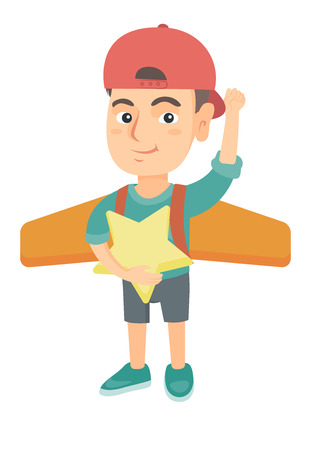 Caucasian boy with raised arm playing with airplane wings and holding a star in hand. Little boy with airplane wings behind his back. Vector sketch cartoon illustration isolated on white background.