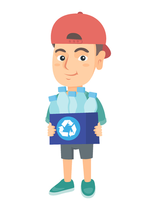 Caucasian boy holding recycling bin full of plastic bottles. Boy carrying recycling bin with plastic bottles. Plastic recycling concept. Vector sketch cartoon illustration isolated on white background