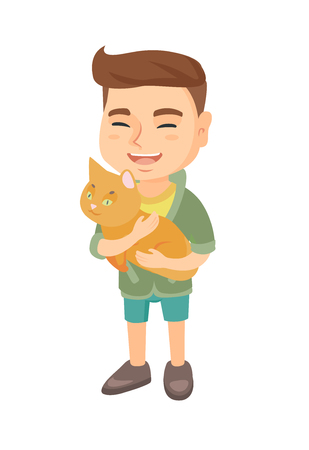 Caucasian happy boy holding a cat. Full length of cheerful little boy with a cat in his hands. Vector sketch cartoon illustration isolated on white background.