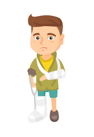 Caucasian sad injured boy with broken arm and leg in gypsum. Full length of upset injured little boy standing on crutches. Vector sketch cartoon illustration isolated on white background.