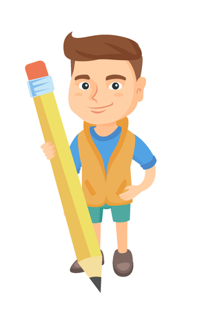 Young caucasian kid boy standing with a huge pencil. Full length of a little boy holding a big pencil. Vector sketch cartoon illustration isolated on white background.
