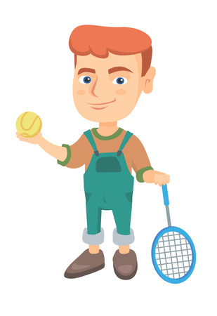 Little caucasian tennis player holding a tennis racket and a ball. Smiling boy while a tennis racket and a ball. Boy playing tennis. Vector sketch cartoon illustration isolated on white background.