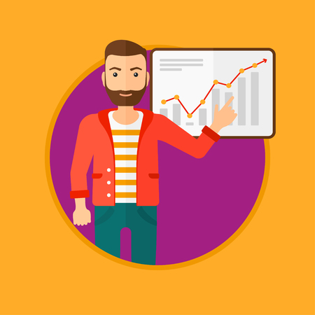 A hipster businessman pointing at charts on a board during business presentation. Man giving a business presentation. Business presentation in progress. Vector flat design illustration in the circle. Ilustração