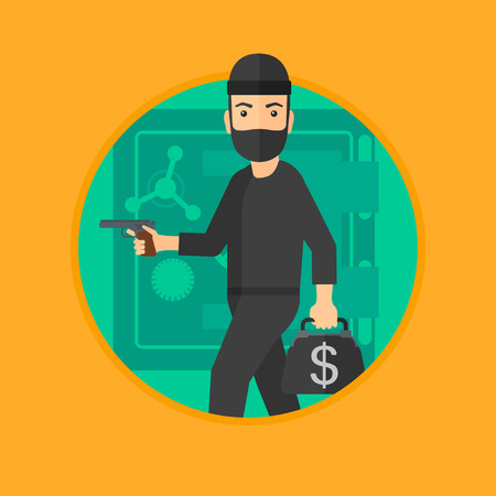 heist: A professional burglar in mask near the big safe door. Burglar holding hand gun and a bag with dollar sign. Thief stealing money. Vector flat design illustration in the circle isolated on background.