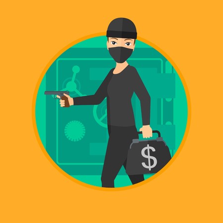 A professional burglar in mask near the big safe door. Burglar holding hand gun and a bag with dollar sign. Thief stealing money. Vector flat design illustration in the circle isolated on background.