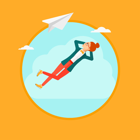 A business woman lying on a cloud and looking at flying paper plane. Business woman relaxing on a cloud. Vector flat design illustration in the circle isolated on background.  イラスト・ベクター素材
