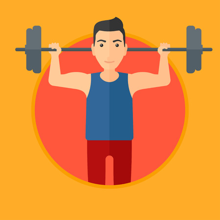 Sporty man lifting a heavy weight barbell. Strong sportsman doing exercise with barbell. Male weightlifter holding a barbell. Vector flat design illustration in the circle isolated on background. Illustration
