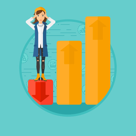 market bottom: A frightened female bankrupt clutching her head. Bankrupt standing on chart going down. Concept of business bankruptcy. Vector flat design illustration in the circle isolated on background.