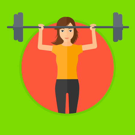 Sporty woman lifting a heavy weight barbell. Sports woman doing exercise with barbell. Female weightlifter holding a barbell. Vector flat design illustration in the circle isolated on background. Ilustracja