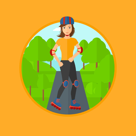rulos: Sporty woman on roller-skates in the park. Full length of sports woman in protective sportwear on rollers skating outdoors. Vector flat design illustration in the circle isolated on background.