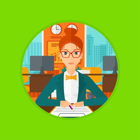 Woman signing business documents in office. Woman is about to sign a business agrement. Confirmation of transaction by signing of business contract. Vector flat design illustration in the circle. Illustration