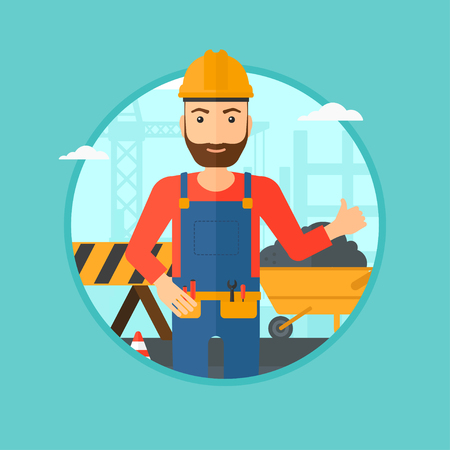 A hipster builder in helmet giving thumb up. A builder with thumb up on a construction site. A man giving thumb up on a background of road works. Vector flat design illustration in the circle. Illustration