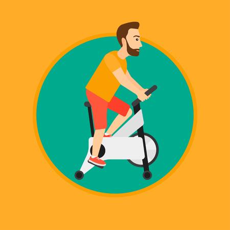 Un hombre inconformista que monta la bicicleta estacionaria. Hombre deportivo que ejercita en la bicicleta inmóvil del entrenamiento. Hombre entrenando en bicicleta estática. Ilustración de diseño plano de vector en el círculo aislado sobre fondo.