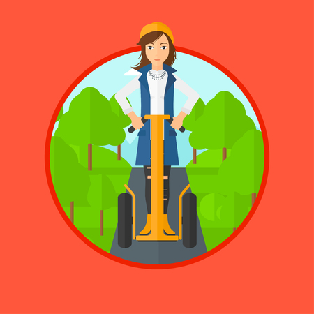 Woman driving electric scooter. Woman on self-balancing electric scooter with two wheels. Woman on electric scooter in the park. Vector flat design illustration in the circle isolated on background. Illustration