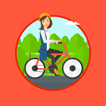 Sportive woman riding a bicycle in park. Cyclist riding bike on forest road. Woman on bike outdoors. Healthy lifestyle concept. Vector flat design illustration in the circle isolated on background. Stock Illustratie