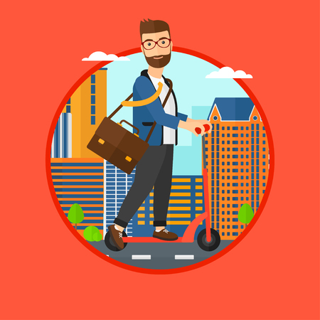 A hipster man riding a kick scooter. Businessman with briefcase riding to work on scooter. Man on kick scooter in the city street. Vector flat design illustration in the circle isolated on background.