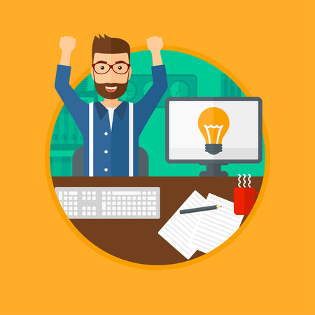 A man with arms up having a business idea. Man working on a computer with a business idea bulb on a screen. Business idea concept. Vector flat design illustration in the circle isolated on background.