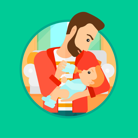 Hipster father feeding baby with a milk bottle. Father feeding newborn baby at home. Baby boy drinking milk from bottle. Vector flat design illustration in the circle isolated on background. Illustration