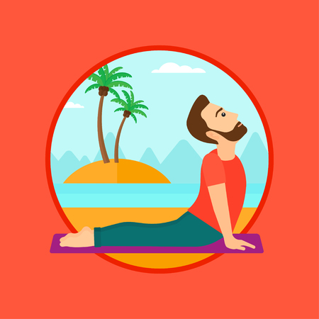A hipster man practicing yoga upward dog pose. Man meditating in yoga upward dog position on the beach. Man doing yoga on nature. Vector flat design illustration in the circle isolated on background. Illustration