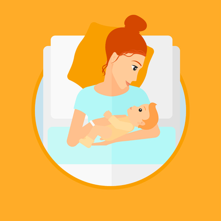 lying in bed: Mother holding newborn in maternity ward. Mother nursing baby. Mother and infant resting at hospital. Happy mother with newborn. Vector flat design illustration in the circle isolated on background.