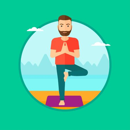 A hipster man with the beard standing in yoga tree pose. Man meditating in yoga tree position on beach. Man doing yoga on nature. Vector flat design illustration in the circle isolated on background.