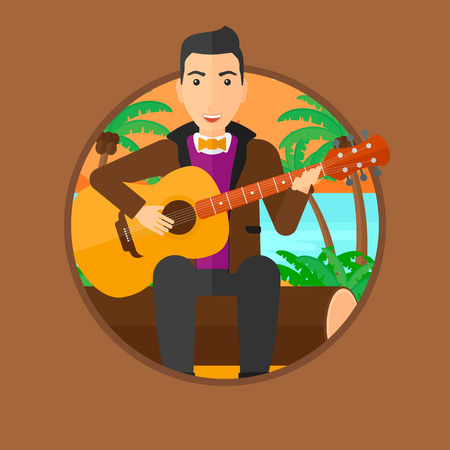 Musician sitting on log and playing an acoustic guitar. Man practicing in playing guitar. Guitarist playing on the tropical beach. Vector flat design illustration in the circle isolated on background. Illustration