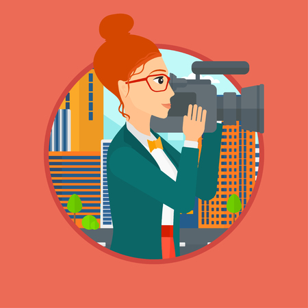 journalism: Young female cameraman looking through movie camera. Woman with professional video camera in the city. Woman shooting outdoor. Vector flat design illustration in the circle isolated on background. Illustration