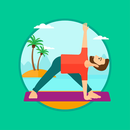 A hipster man standing in yoga triangle pose. Man meditating in yoga triangle position on the beach. Man doing yoga on nature. Vector flat design illustration in the circle isolated on background. Illustration
