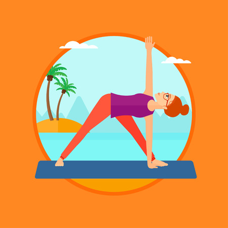 Woman standing in yoga triangle position. Woman meditating in yoga triangle position on the beach. Woman doing yoga on nature. Vector flat design illustration in the circle isolated on background.