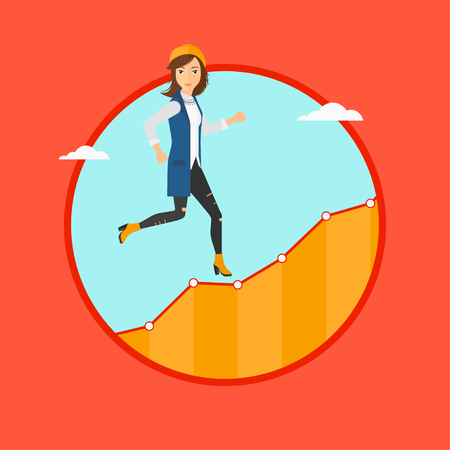 Cheerful businesswoman running along the growth graph. Businesswoman going up. Woman moving up. Successful business concept. Vector flat design illustration in the circle isolated on background. Illustration