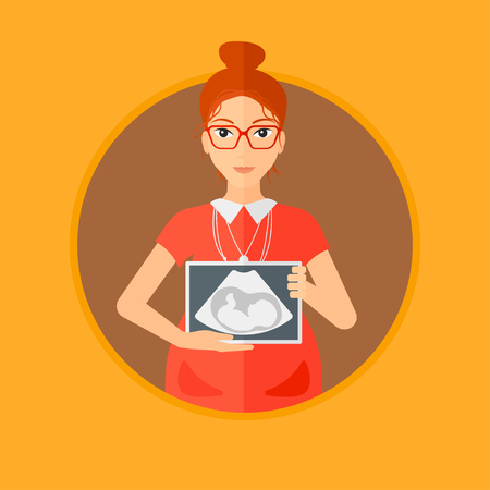 Pregnant woman with ultrasound image. Pregnant woman holding ultrasound scan on her belly. Pregnant woman showing ultrasound photo.Vector flat design illustration in the circle isolated on background.