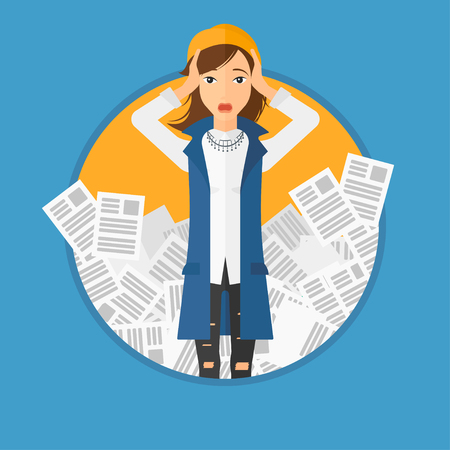 overwhelmed: A stressed business woman clutching her head because of having a lot of work to do. Busy business woman with lots of papers. Vector flat design illustration in the circle isolated on background.