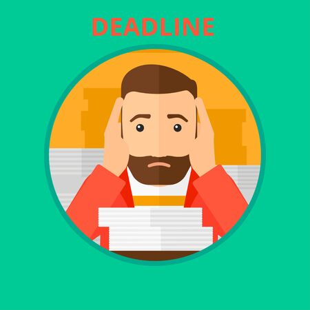 clutch: Stressed hipster businessman sitting at the table with stacks of papers and having problem with deadline. Deadline concept. Vector flat design illustration in the circle isolated on background. Illustration