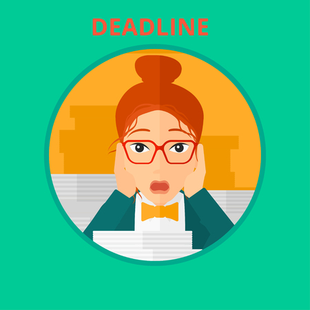 clutch: Stressed business woman sitting at the table with stacks of papers. Business woman having problem with deadline. Deadline concept. Vector flat design illustration in the circle isolated on background.