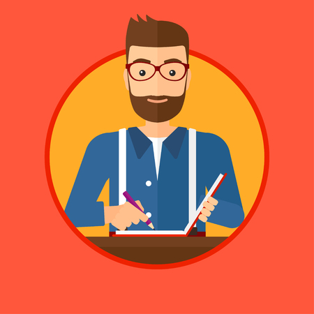 journalism: Hipster journalist with the beard sitting at the table and writing in notebook with pencil. Journalist writing notes with pencil. Vector flat design illustration in the circle isolated on background. Illustration