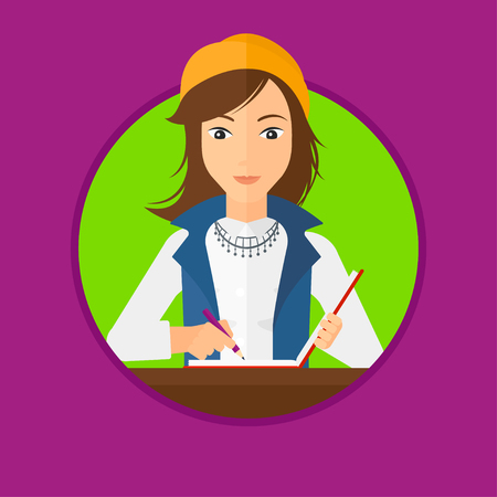 journalism: Journalist sitting at the table and writing in notebook with pencil. Journalist writing notes with pencil. Journalist at work. Vector flat design illustration in the circle isolated on background.