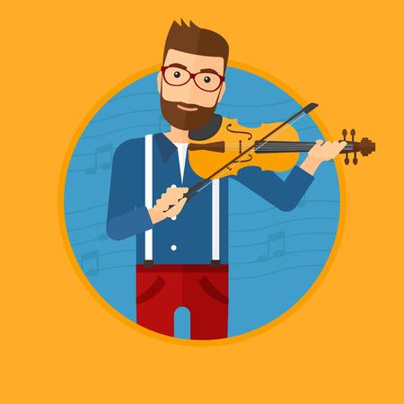 Hipster man viool spelen. Violist die klassieke muziek op viool speelt. Man met viool op een blauwe achtergrond met muziek notities. Vector platte ontwerp illustratie in de cirkel geïsoleerd op de achtergrond.