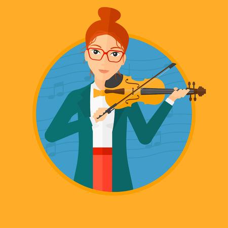 Vrouw viool spelen. Violist die klassieke muziek op viool speelt. Vrouw met viool en boog op blauwe achtergrond met muzieknota's. Vector platte ontwerp illustratie in de cirkel geïsoleerd op de achtergrond.