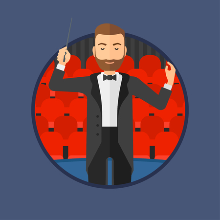 A hipster orchestra conductor with the beard directing with baton. Man conducting an orchestra on the background of concert hall. Vector flat design illustration in the circle isolated on background.